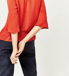 Warehouse, FLUTED SLEEVE TEXTURED TOP Bright Red 4