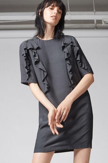 Warehouse, RUFFLE DETAIL SHIFT DRESS Dark Grey 1