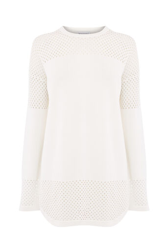 Warehouse, MESH PANEL LONGLINE JUMPER Cream 0