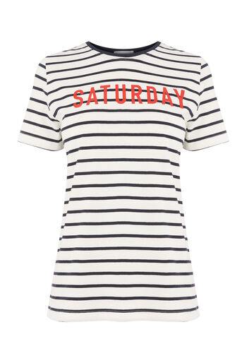 Warehouse, SATURDAY STRIPE TEE Blue Stripe 0