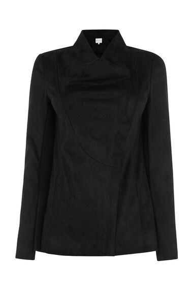 Warehouse, Suedette Cowl Jacket Black 0