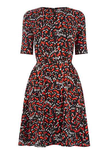 Warehouse, TIGER MOTH FLIPPY DRESS Black 0