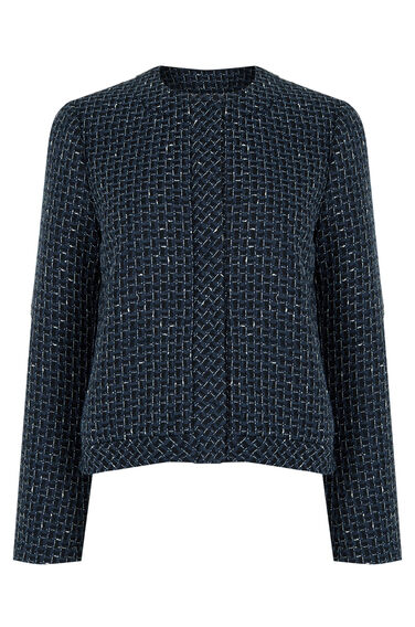 Warehouse, LUPITA TWEED JACKET Blue Pattern 0