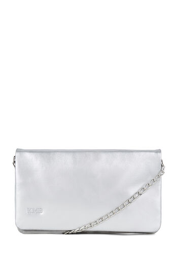 Warehouse, MONOGRAM LEATHER CHAIN BAG Silver Colour 0