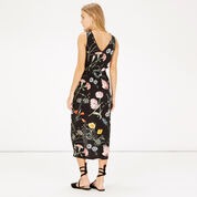 Warehouse, Scatter Floral Sleeveless Midi Black Pattern 3