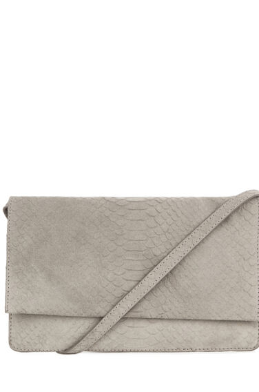 Warehouse, SUEDE EMBOSSED CROSS BODY BAG Light Grey 0