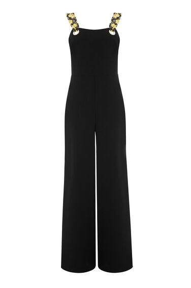 Warehouse, EYELET JUMPSUIT Black 0