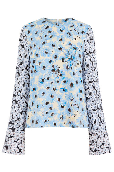 Warehouse, DAISY LONG SLEEVE TOP Neutral  Print 0