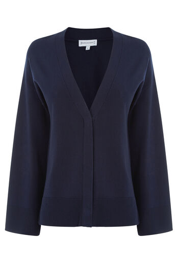 Warehouse, SPLIT CUFF POPPER CARDI Navy 0