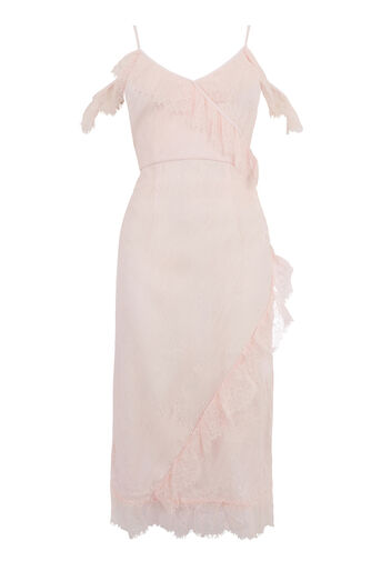 Warehouse, EYELASH COLD SHOULDER DRESS Light Pink 0