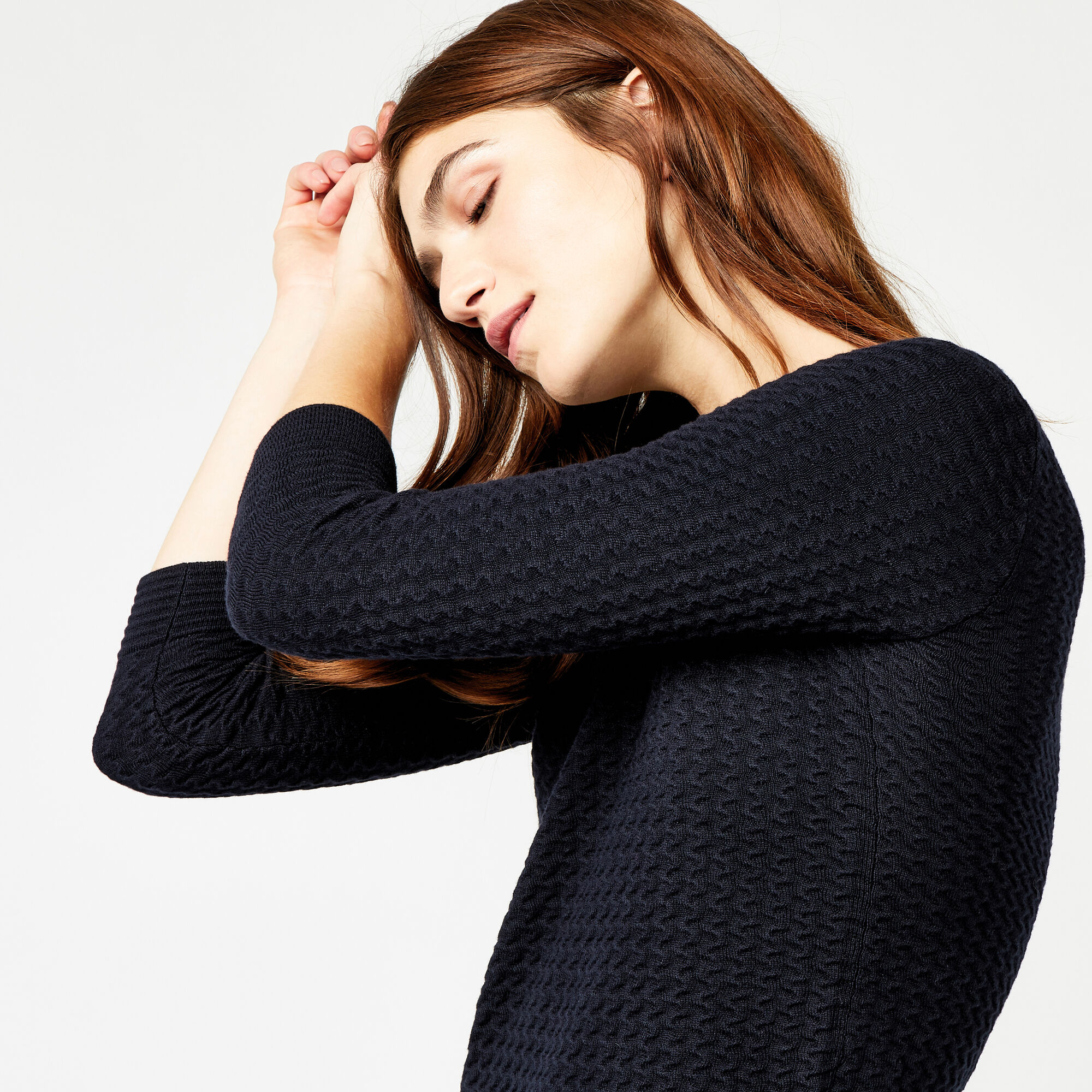Warehouse, RIPPLE STITCH JUMPER Navy 1