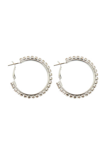 Warehouse, CLEAR STONE MEDIUM HOOP Silver Colour 0