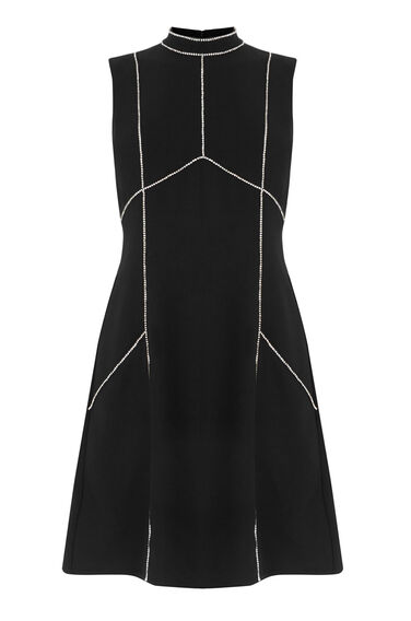 Warehouse, DIAMANTE SHIFT DRESS Black 0