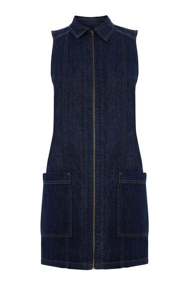 Warehouse, A LINE ZIP FRONT DRESS Dark Wash Denim 0