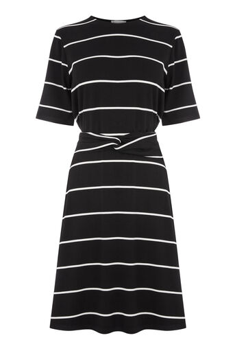 Warehouse, STRIPE TWIST BELT DRESS Black Stripe 0