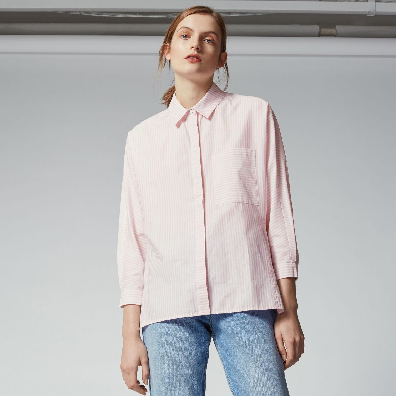 Warehouse, CANDY STRIPE BOXY SHIRT Light Pink 1