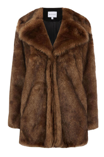 Warehouse, FAUX FUR COAT Brown 0