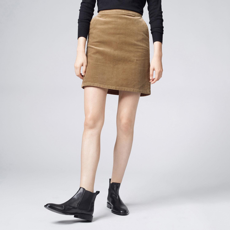 Warehouse, Cord Pelmet Skirt Brown 1