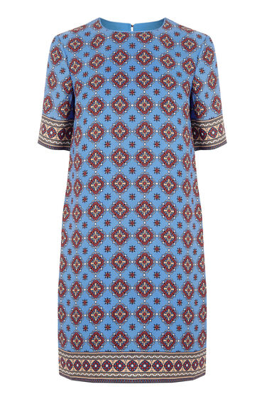 Warehouse, TILE PRINT SHIFT DRESS Blue Pattern 0