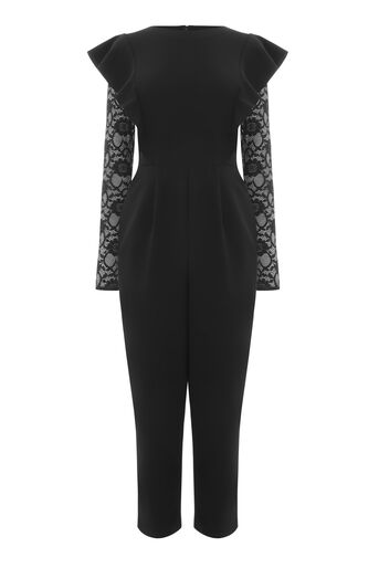 Warehouse, LACE INSERT CREPE JUMPSUIT Black 0