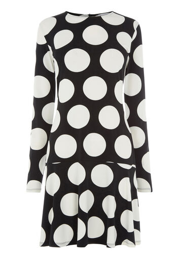 Warehouse, OVERSIZED DOT DRESS Black Pattern 0