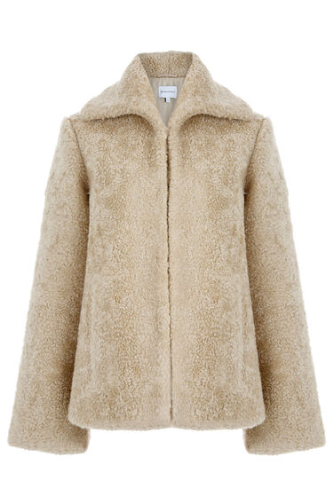 Warehouse, Mock Shearling Coat Cream 0