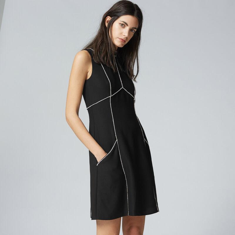 Warehouse, DIAMANTE SHIFT DRESS Black 1