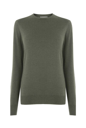 Warehouse, CREW JUMPER Khaki 0