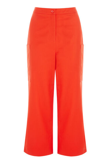 Warehouse, WIDE LEG CROPPED TROUSERS Bright Red 0