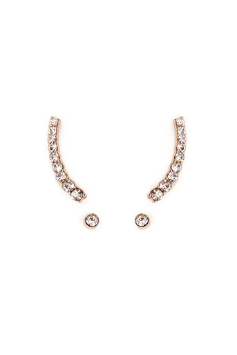Warehouse, GRADUATING CRYSTAL EAR CUFF Rose Gold 0