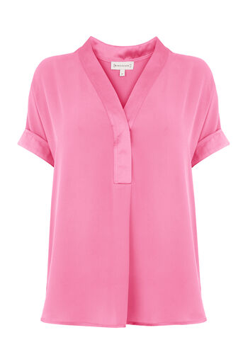 Warehouse, SATIN MIX BLOUSE Bright Pink 0