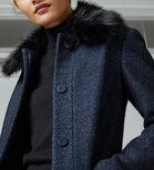 Warehouse, Swing Faux Fur Collar Coat Navy 4