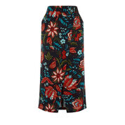 Warehouse, Botanical Drawn Floral Skirt Black Pattern 0