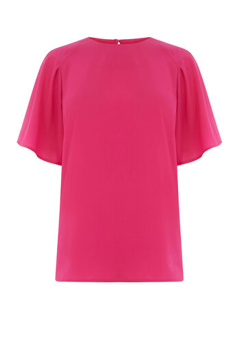 Warehouse, PLEATED SLEEVE TOP Bright Pink 0