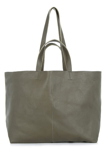 Warehouse, LARGE LEATHER TOTE BAG Khaki 0