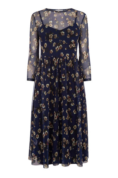 Warehouse, MAE FLORAL PRINT MESH DRESS Multi 0