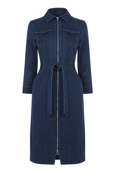 Warehouse, Zip Front Belted Shirt-Dress Mid Wash Denim 0