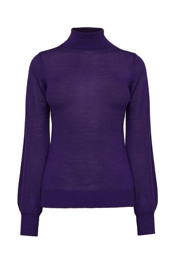 Warehouse, BLOUSON SLEEVE JUMPER Bright Purple 0