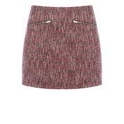 Warehouse, Sparkle Tweed Pelmet Skirt Red Pattern 0