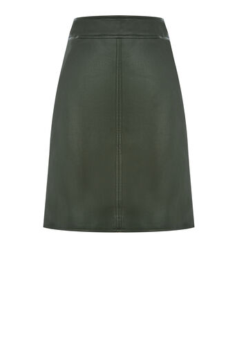 Warehouse, Faux Leather A Line Skirt Khaki 0