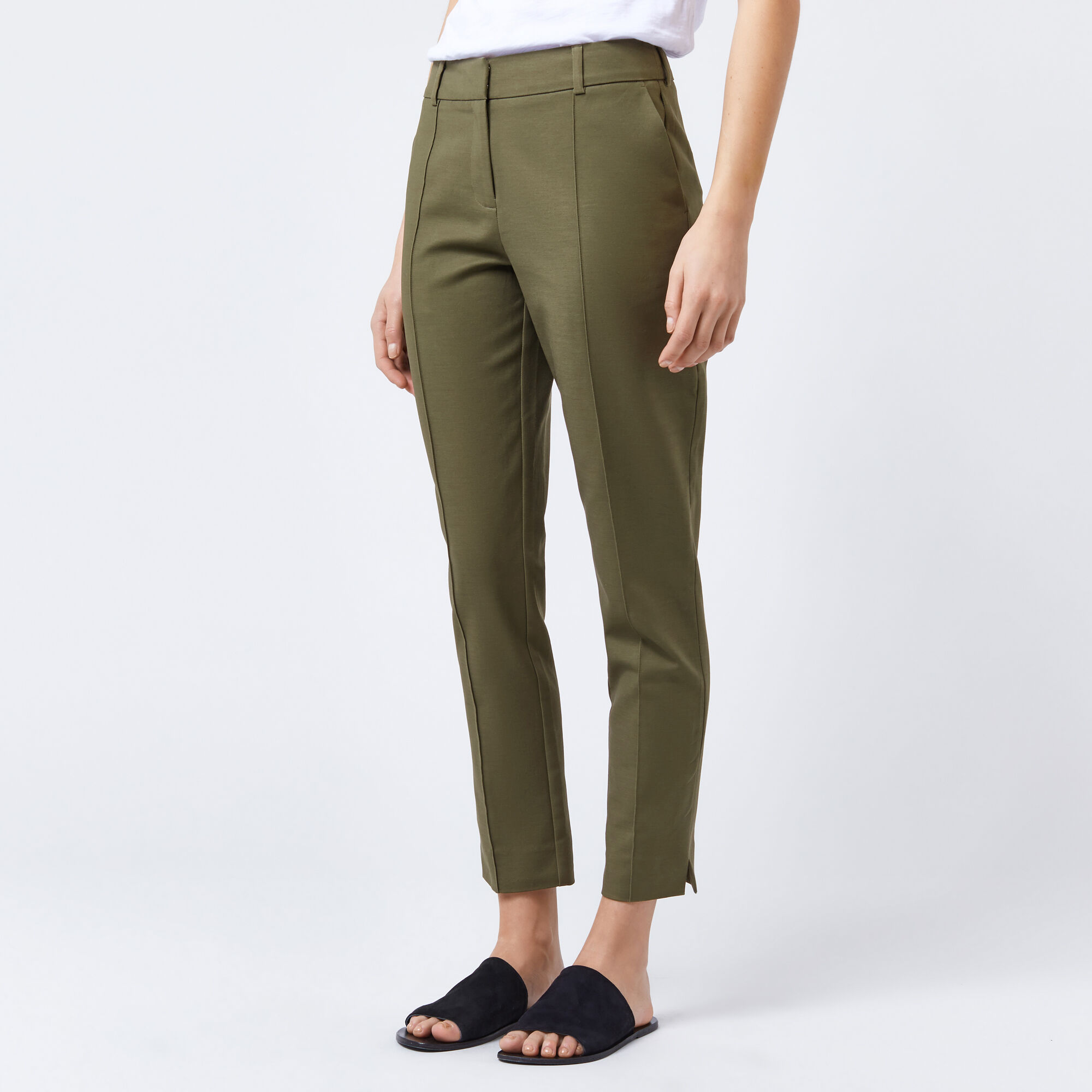 Warehouse, COMPACT COTTON TROUSERS Khaki 1