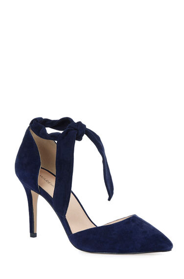 Warehouse, Suede Ankle Tie Court Shoe Navy 0