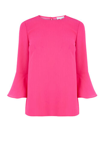 Warehouse, FLUTED SLEEVE CRINKLE TOP Bright Pink 0