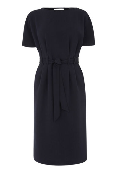 Warehouse, BELTED MIDI DRESS Navy 0