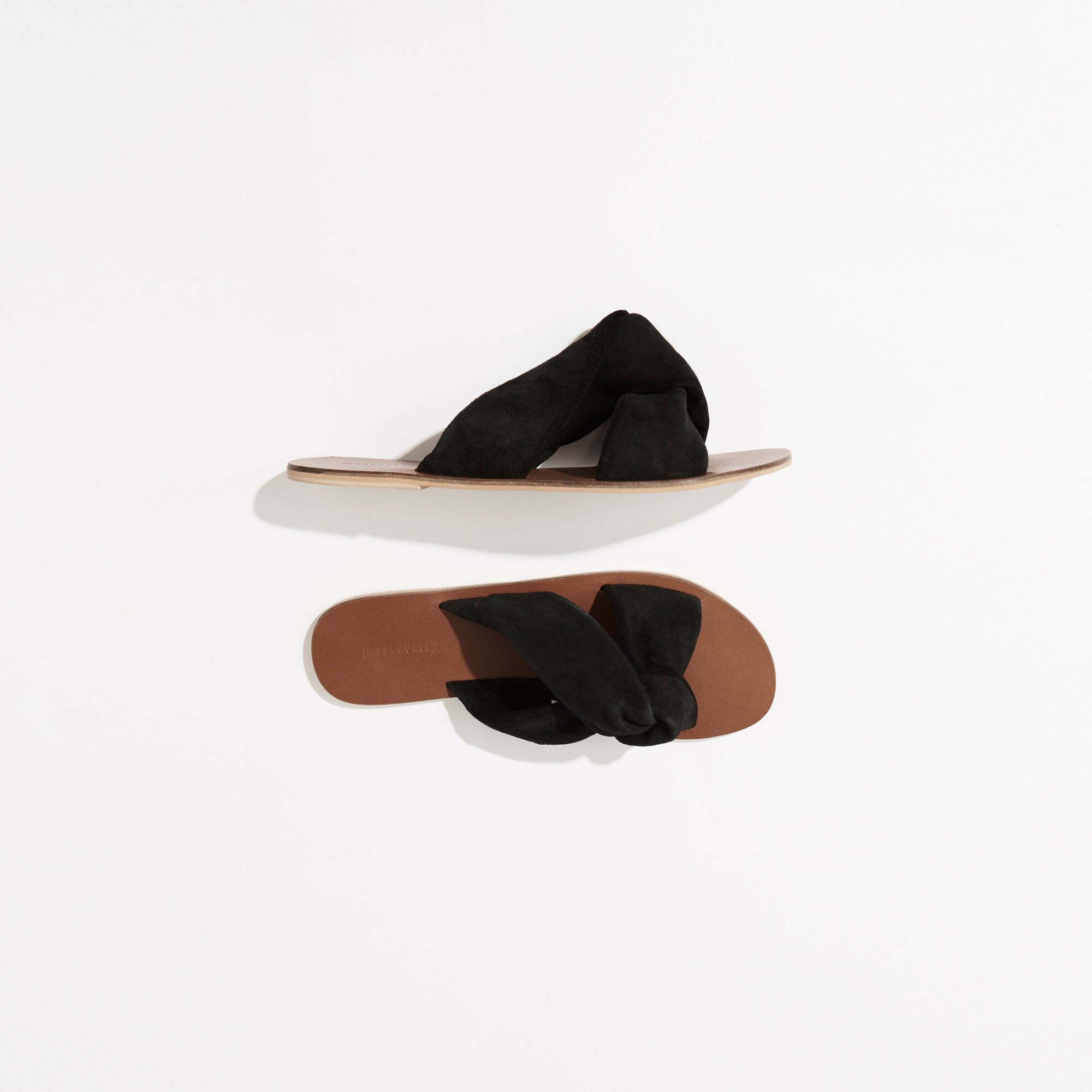 Warehouse, SUEDE KNOTTED SANDAL Black 1