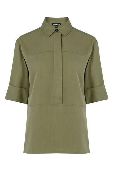 Warehouse, Seam Detail Shirt Khaki 0