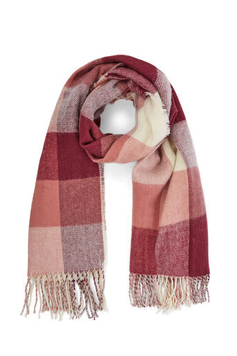 Warehouse, BURGUNDY SQUARE CHECK SCARF Berry 0