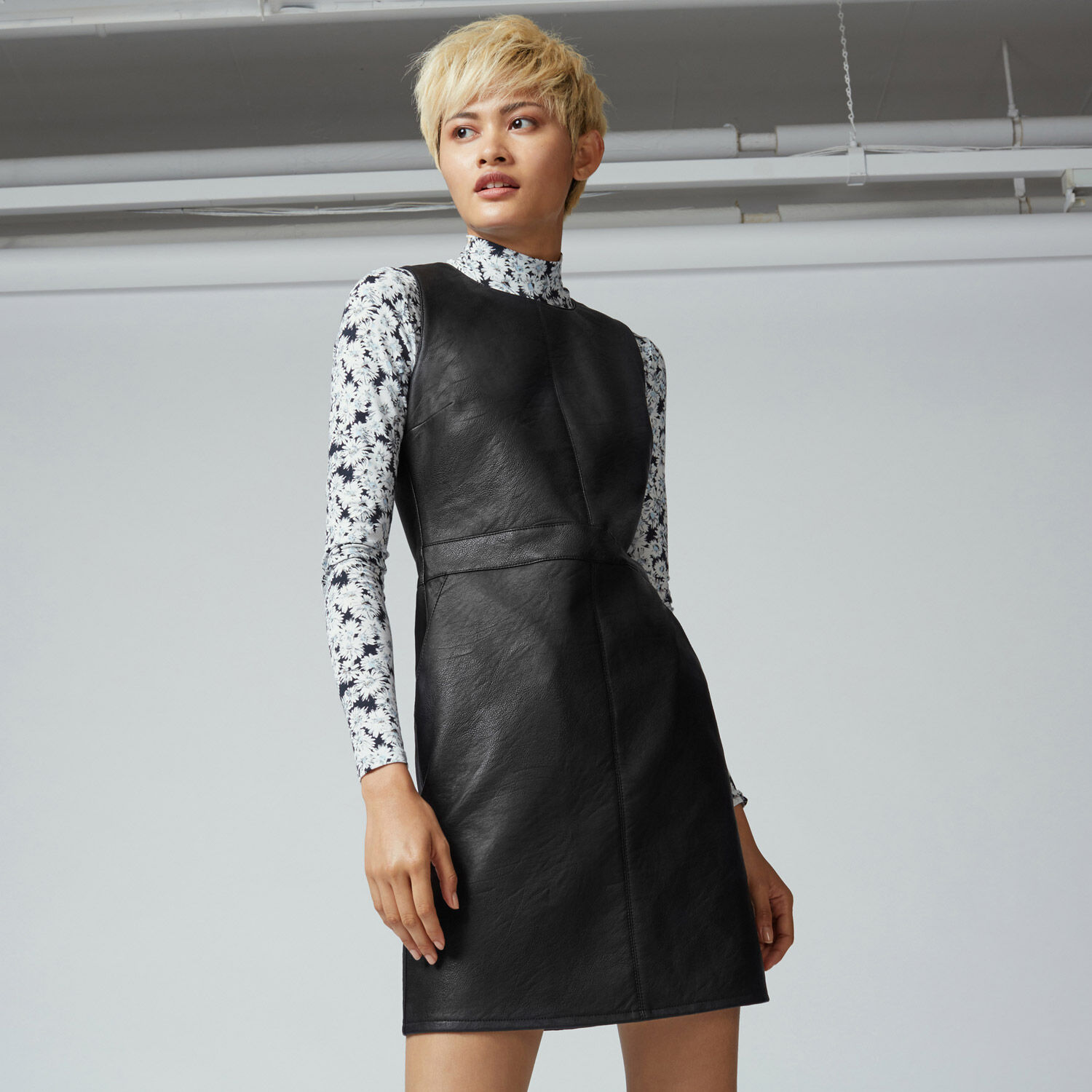 Warehouse, Faux Leather Fit Flare Dress Black 1