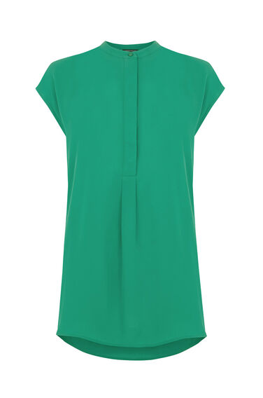 Warehouse, SLEEVELESS PLEAT BACK BLOUSE Bright Green 0