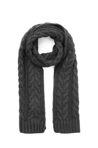 Warehouse, CABLE KNIT SCARF Dark Grey 0